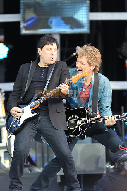 Slane 2013 Bon Jovi Concert, Jon Bon Jovi on stage.<br /> <br /> Picture:  Fran Caffrey / www.newsfile.ie