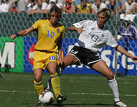 Hanna Ljungberg, left, Sandra Minnert, right, Germany 2-1 over Sweden at the  WWC 2003 Championships.