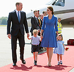 19.07.2017; Berlin, Germany: PRINCE GEORGE, PRINCESS CHARLOTTE, KATE AND WILLIAM<br />arrive at Teigel Airport, Berlin at the start of their tour of Germany.<br />Mandatory Photo Credit: &copy;Francis Dias/NEWSPIX INTERNATIONAL<br /><br />IMMEDIATE CONFIRMATION OF USAGE REQUIRED:<br />Newspix International, 31 Chinnery Hill, Bishop's Stortford, ENGLAND CM23 3PS<br />Tel:+441279 324672  ; Fax: +441279656877<br />Mobile:  07775681153<br />e-mail: info@newspixinternational.co.uk<br />Usage Implies Acceptance of OUr Terms &amp; Conditions<br />Please refer to usage terms. All Fees Payable To Newspix International