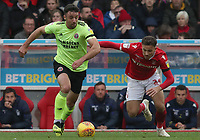 Sheffield United's Enda Stevens and Nottingham Forest's Matty Cash<br /> <br /> Photographer Rachel Holborn/CameraSport<br /> <br /> The EFL Sky Bet Championship - Nottingham Forest v Sheffield United - Saturday 3rd November 2018 - The City Ground - Nottingham<br /> <br /> World Copyright &copy; 2018 CameraSport. All rights reserved. 43 Linden Ave. Countesthorpe. Leicester. England. LE8 5PG - Tel: +44 (0) 116 277 4147 - admin@camerasport.com - www.camerasport.com