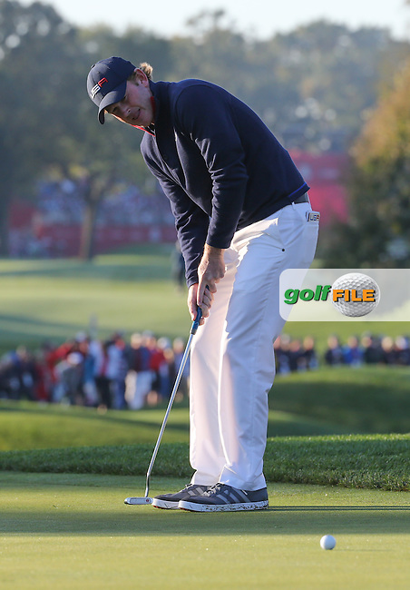Brandt Snedeker (Team USA) putting on the second during the Saturday Morning Foursomes, at the 41st Ryder Cup 2016, at Hazeltine National Golf Club, Minnesota, USA.  01View of the 10th2016. Picture: David Lloyd | Golffile.