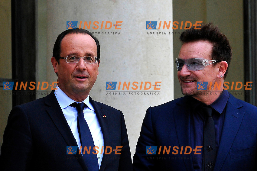 Incontro all'Eliseo di Francois Hollande con Bill Gates e Bono..10/10/2012 Parigi .Foto Insidefoto / Gerard Roussel / Panoramic..Italy Only