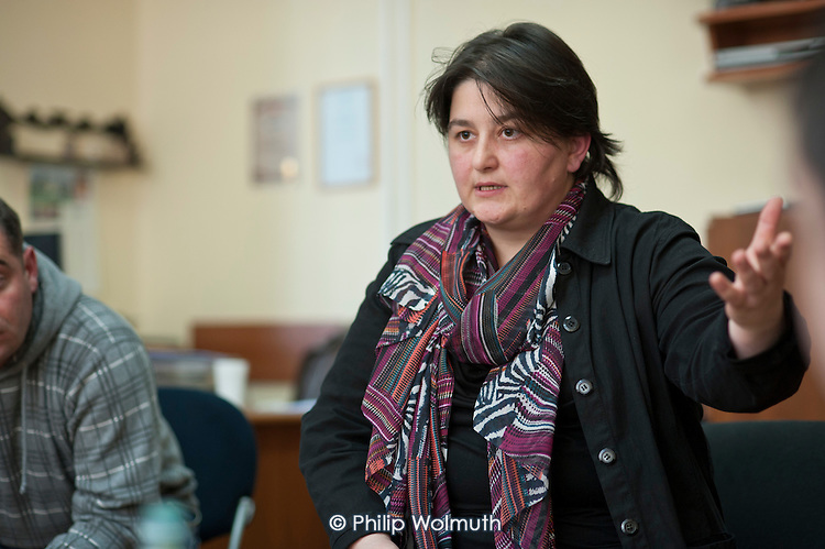 Ekaterina Beria, Telasi Trade Union committee member, at the Tbilisi headquarters of Telasi, one of Gerogia's three electricty distribution companies.