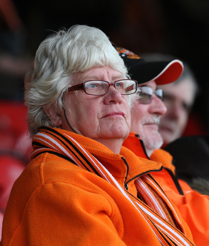 Blackpool fans soak up the atmosphere before the game<br /> <br /> Photographer Alex Dodd/CameraSport<br /> <br /> Football - The Football League Sky Bet League One - Crewe Alexandra v Blackpool - Saturday 19th March 2016 - Alexandra Stadium - Crewe    <br /> <br /> &copy; CameraSport - 43 Linden Ave. Countesthorpe. Leicester. England. LE8 5PG - Tel: +44 (0) 116 277 4147 - admin@camerasport.com - www.camerasport.com
