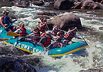 Family with front row seats rafting the Poudre River, Fort Collins, Colorado.