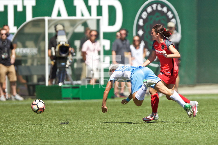 Portland, OR - Saturday August 05, 2017: Janine Van Wyk, Hayley Raso during a regular season National Women's Soccer League (NWSL) match between the Portland Thorns FC and the Houston Dash at Providence Park.