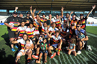 Waikato celebrate victory after the men's cup final between Waikato and Tasman on day two of the 2018 Bayleys National Sevens at Rotorua International Stadium in Rotorua, New Zealand on Sunday, 14 January 2018. Photo: Dave Lintott / lintottphoto.co.nz