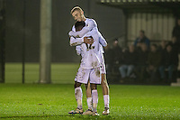 Monday  19 December 2014<br /> Pictured: Oliver McBernie of Swansea City  Celebrates his goal with Nathan Dyer of Swansea City Re: Swansea City U23 v Middlesbrough u23 at the Landore Training Facility, Swansea, Wales, UK