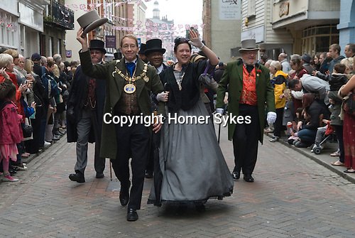 Charles Dickens Festival. Rochester Kent UK. Cllt Mayor of Medway Vaughan Hewett with his wife, Mrs Jennifer Hewett. 2012.