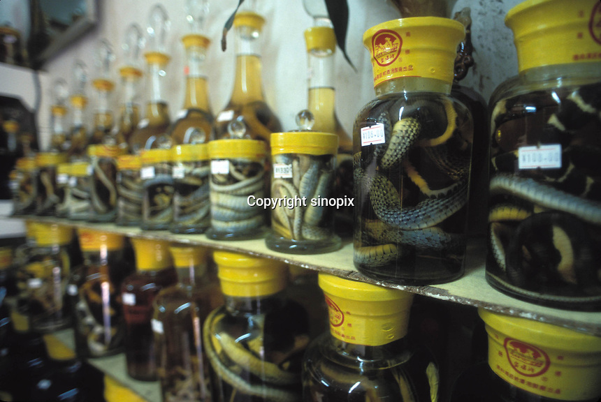 Jars of snakes in rice wine are fermented at a snake restaurant in Guangzhou, China...PHOTO BY SINOPIX..