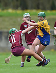 Amy Barrett of Clare in action against Sarah Spellman of Galway during their Minor A All-Ireland final at Nenagh.  Photograph by John Kelly.