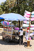 Cotton candy and popcorn vendor in Chapultepec Park, Mexico City