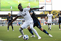 San Jose, CA - Saturday August 25, 2018: Kei Kamara, Magnus Eriksson during a Major League Soccer (MLS) match between the San Jose Earthquakes and Vancouver Whitecaps FC at Avaya Stadium.