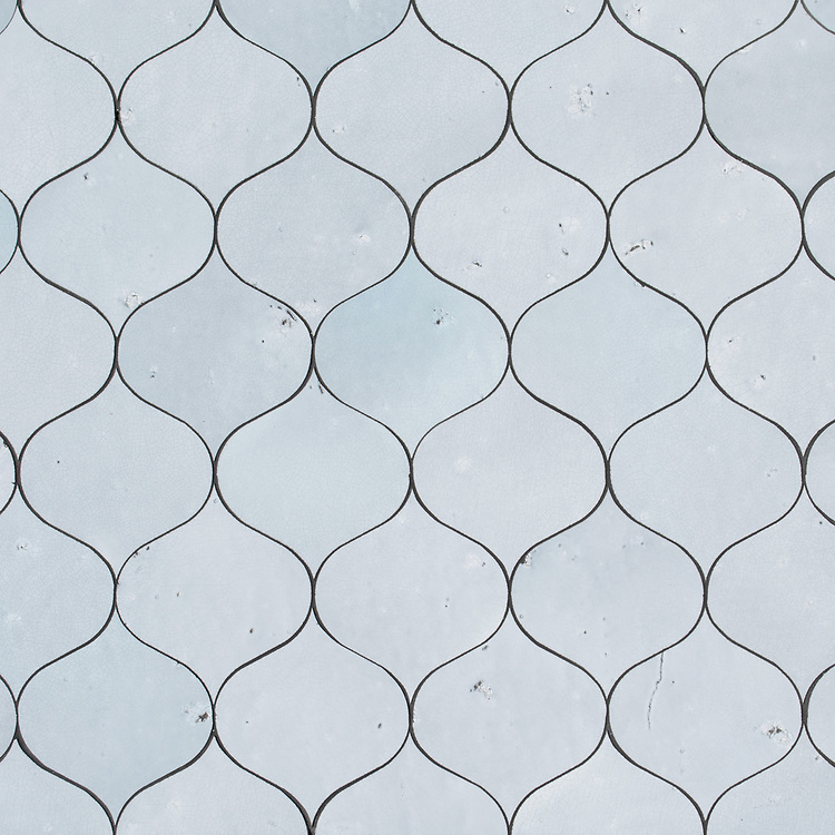 Odile, a waterjet cut mosaic, shown in Glazed Basalto Oleander, is part of the Semplice® collection for New Ravenna.