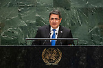 General Assembly Seventy-fourth session, 5th plenary meeting<br /> <br /> His Excellency Juan Orlando Hernández Alvarado, President, Republic of Honduras