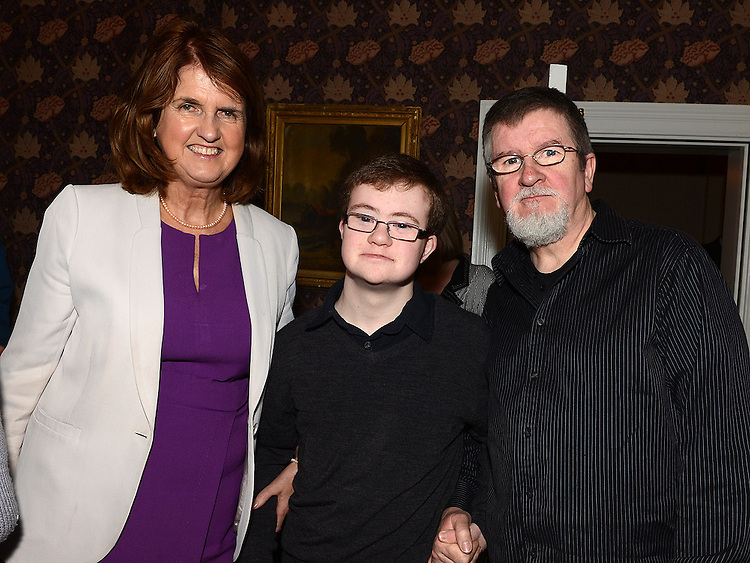 Tom and Paddy Neary Drogheda with Minister for Social Protection Joan Brutonat the launch of the Walk Peer Programme in Bellingham Castle hotel. Photo:Colin Bell/pressphotos.ie