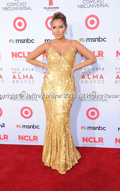 PASADENA, CA- SEPTEMBER 27: Singer Adrienne Bailon arrives at the 2013 NCLA ALMA Awards at Pasadena Civic Auditorium on September 27, 2013 in Pasadena, California.