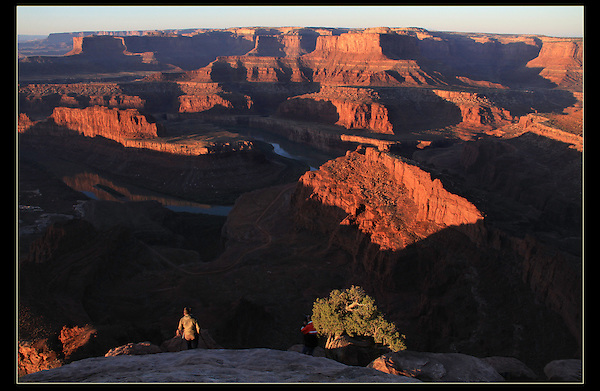 Photographers at Dead Horse State Park, sunrise, Utah.<br />