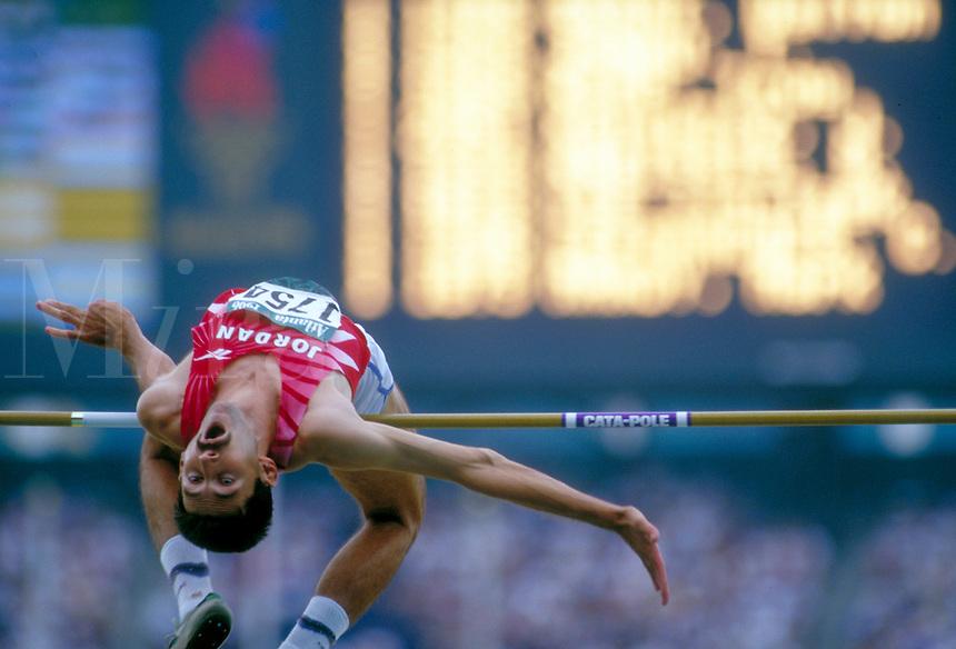 High Jump during 1996 Summer Olympics. Atlanta Georgia United States Olympic Stadium.