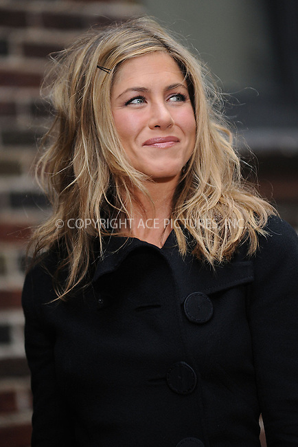 WWW.ACEPIXS.COM . . . . . ....March 15 2010, New York City....Actress Jennifer Aniston made an appearance at 'The Late Show with David Letterman' on March 15 2010 in New York City....Please byline: KRISTIN CALLAHAN - ACEPIXS.COM.. . . . . . ..Ace Pictures, Inc:  ..(212) 243-8787 or (646) 679 0430..e-mail: picturedesk@acepixs.com..web: http://www.acepixs.com