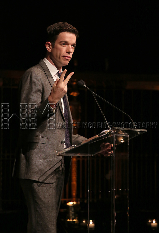 John Mulaney on stage at the  2017 Dramatists Guild Foundation Gala presentation at Gotham Hall on November 6, 2017 in New York City.