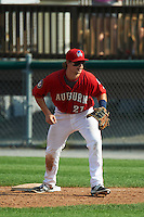 Auburn Doubledays first baseman David Kerian (21) during a game against the Batavia Muckdogs on September 7, 2015 at Falcon Park in Auburn, New York.  Auburn defeated Batavia 11-10 in ten innings.  (Mike Janes/Four Seam Images)