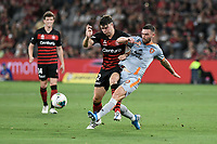 1st January 2020; Bankwest Stadium, Parramatta, New South Wales, Australia; Australian A League football, Western Sydney Wanderers versus Brisbane Roar; Jay O'Shea of Brisbane Roar tackles the ball away from Nick Sullivan of Western Sydney Wanderers - Editorial Use