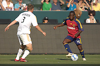 LA's Ty Harden sets up to defend RSL's Jean-Martial Kipre. The Los Angeles Galaxy defeated Real Salt Lake, 3-2, at the Home Depot Center in Carson, CA on Sunday, June 17, 2007.