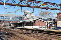 The Metro-North train station and tracks on the New Haven Line in Harrison, New York