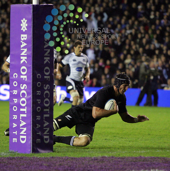Scotland v New Zealand, Murrayfield Stadium, Edinburgh - 08/11/2008.Bank of Scotland Corporate Test..New Zealand's Anthony Boric slides in for one of New Zealand's 4 tries.  The final score was Scotland 6 - New Zealand 32.   Picture by John Cockburn/ Universal News & Sport (Scotland)