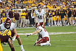 Kaleb Fossum (83), Washington State holder, prepares for the snap for a field goal attempt by Erik Powell (46) during the Cougars Pac-12 Conference road victory over the Arizona State Sun Devils, 37-32, on October 22, 2016, at Sun Devil Stadium in Tempe, Arizona.