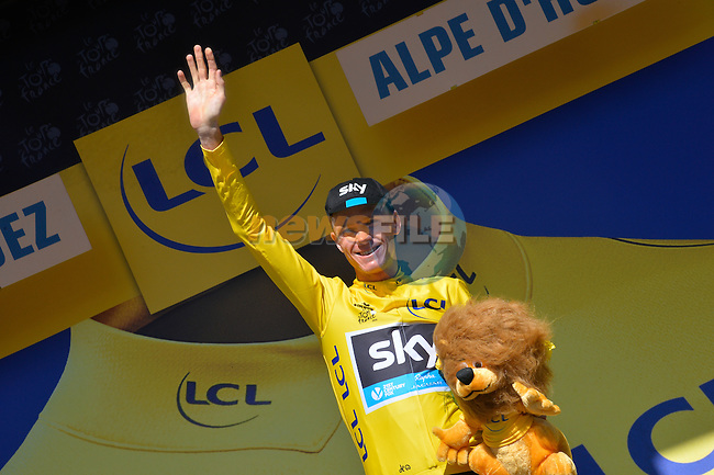 Race leader Christopher Froome (GBR) Team Sky holds onto his lead at the end of Stage 20 of the 2015 Tour de France running 110.5km from Modane Valfrejus to Alpe d'Huez, France. 25th July 2015.<br /> Photo: ASO/B.Bade/Newsfile