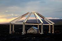 sunset, partial residential structure, Puu Oo vog plume, lava flows near Kalapana, Hawaii, Big Island of Hawaii