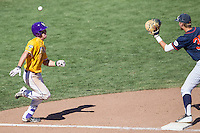 LSU Tigers shortstop Alex Bregman (8) sprints to first base during the NCAA College baseball World Series against the Cal State Fullerton on June 16, 2015 at TD Ameritrade Park in Omaha, Nebraska. LSU defeated Fullerton 5-3. (Andrew Woolley/Four Seam Images)
