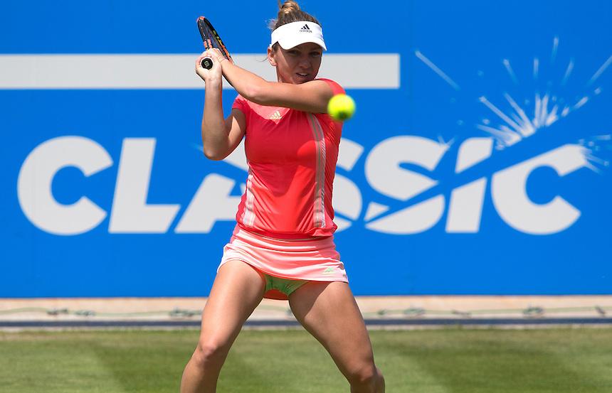 [1] Simona Halep (ROU) in action during her victory over [Q] Klara Koukalova (CZE) in their Women&rsquo;s Singles Third Round match today - [3] Carla Suarez Navarro (ESP) def [13] Svetlana Kuznetsova (RUS) 6-3 6-4<br /> <br /> Photographer Stephen White/CameraSport<br /> <br /> Tennis - WTA International - Aegon  Classic - Day 4 - Thursday 18th June 2015 - Edgbaston Priory Club - Birmingham<br /> <br /> &copy; CameraSport - 43 Linden Ave. Countesthorpe. Leicester. England. LE8 5PG - Tel: +44 (0) 116 277 4147 - admin@camerasport.com - www.camerasport.com