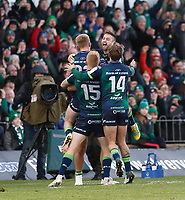 17th November 2019; The Sportsground, Galway, Connacht, Ireland; European Rugby Champions Cup, Connacht versus Montpellier; Connacht players celebrate at full time after defeating Montpellier 23-20 at The Sportsgrounds - Editorial Use