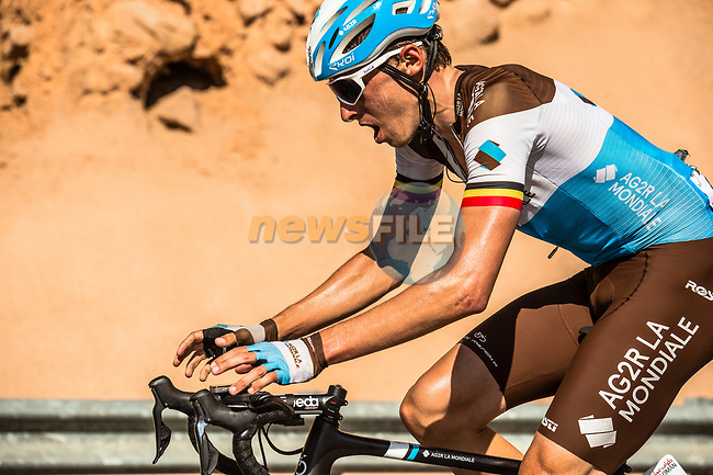 Oliver Naesen (BEL) AG2R La Mondiale climbs towards the finish of Stage 5 of the 10th Tour of Oman 2019, running 152km from Samayil to Jabal Al Akhdhar (Green Mountain), Oman. 20th February 2019.<br /> Picture: ASO/Kåre Dehlie Thorstad | Cyclefile<br /> All photos usage must carry mandatory copyright credit (© Cyclefile | ASO/Kåre Dehlie Thorstad)