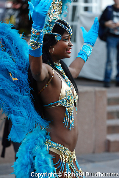 Caribbean dancer gives a street performance at Plaza St-Hubert in Montreal