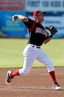 Batavia Muckdogs third baseman Garrett Wittels #21 during the first game of a doubleheader against the Williamsport Crosscutters at Dwyer Stadium on August 23, 2011 in Batavia, New York.  Batavia defeated Williamsport 2-1.  (Mike Janes/Four Seam Images)