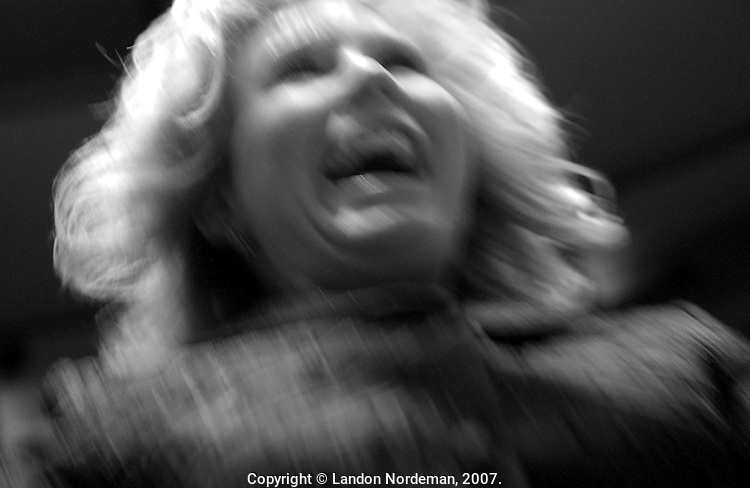 "NEW YORK - FEB 10:  Handler Robin Novack screams for joy as her assistant handler Megan Ulfers(not pictured) wins Best of Breed for showing their English Cocker Spaniel named, ""Champion Jaybriar's Sweet Romance"" during the 128th Annual Westminster Kennel Club Dog Show at Madison Square Garden in New York City on Tuesday February 10, 2004. Emotions run high at the premiere event of the dog show circuit, where receiving an award greatly raises the status of a dog, a handler, and/or a dog owner.  However, there are no cash awards.(Photo By Landon Nordeman)"