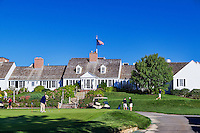 Golf course club house, practice green and tee off, Eastward Ho, Chatham, Cape Cod, Massachusetts, USA