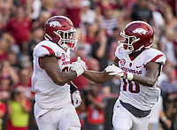 Hawgs Illustrated/BEN GOFF <br /> David Williams (left), Arkansas running back, celebrates with wide receiver Jordan Jones before learning he had stepped out of bounds on a potential touchdown run in the first half against South Carolina Saturday, Oct. 7, 2017, at Williams-Brice Stadium in Columbia, S.C.