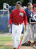 June 19, 2004:  Manager Luis Melendez of the Batavia Muckdogs, Short-Season Single-A affiliate of the Philadelphia Phillies, during a game at Dwyer Stadium in Batavia, NY.  Photo by:  Mike Janes/Four Seam Images