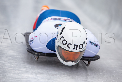 February 24th 2017,  Berchtesgaden - Konigssee, Germany; Action from the Men's Skeleton Runs 1 and 2, Pavel KULIKOV RUS