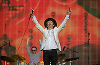 Beck Hansen (Beck) raises the mic and harmonica after as the set comes to an end during British Summertime Music Festival at Hyde Park, London, England on 18 June 2015. Photo by Andy Rowland.