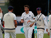 June 12th 2017, Trafalgar Road Ground, Southport, England; Specsavers County Championship Division One Day Four; Lancashire versus Middlesex; Toby Roland-Jones (centre) is congratulated after dismissing Liam Livingstone, caught by Middlesex keeper John Simpson for22; Middlesex were all out this morning and set Lancashire a target of 108 to win the match