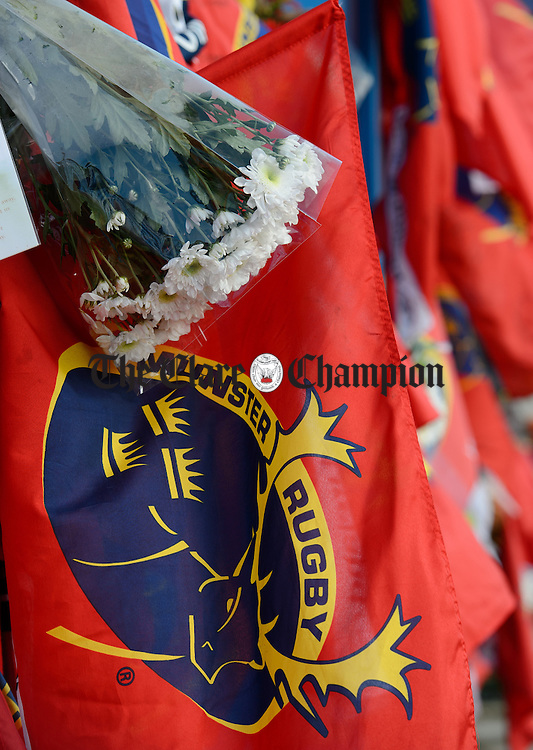 One of the many floral  tributes from fans, on the gates of Thomond Park,  to Munster and Ireland's Anthony Foley following his passing in France on Sunday. Photograph by John Kelly.