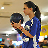 Kayla DeJesus of Levittown Division gets ready to roll during a Nassau County girls bowling match against MacArthur at Levittown Lanes on Wednesday, Jan. 3, 2018. She bowled a 440 series with a high game of 170.