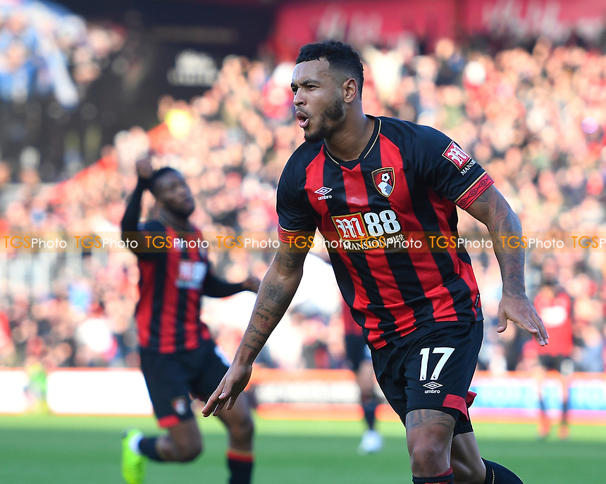 Joshua King of AFC Bournemouth scores and celebrates to make the score 1-1 at half timer during AFC Bournemouth vs Arsenal, Premier League Football at the Vitality Stadium on 25th November 2018