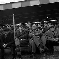 Le 9 Décembre 1962. Vue du banc de touche du Stade Toulousain lors d'une rencontre.